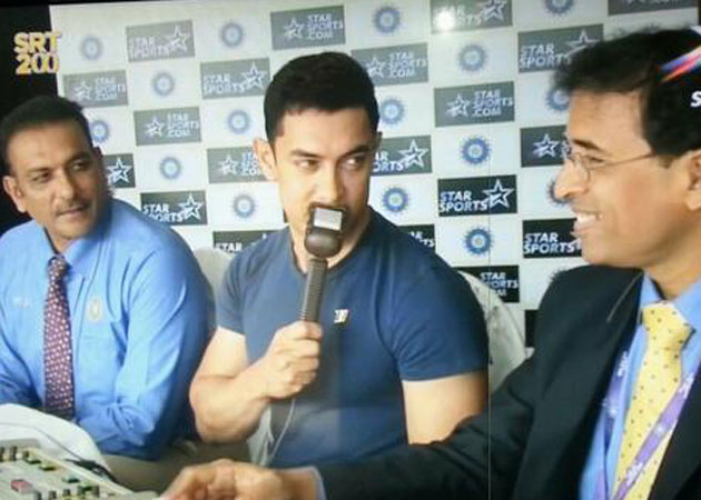 Aamir Sir along side Shaz and Bhogle. Courtesy- NDTV
