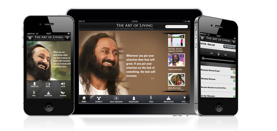 Art of living app on iPhone and iPad