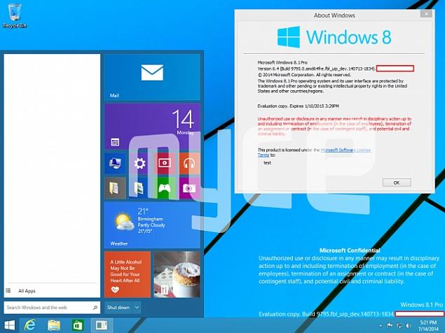 Alleged Windows 9 Screenshots Show Start Menu, Windowed Mode for Modern Apps