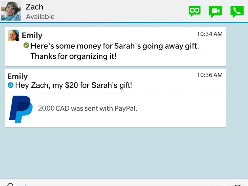 BBM Now Lets Users Send and Receive Money via PayPal