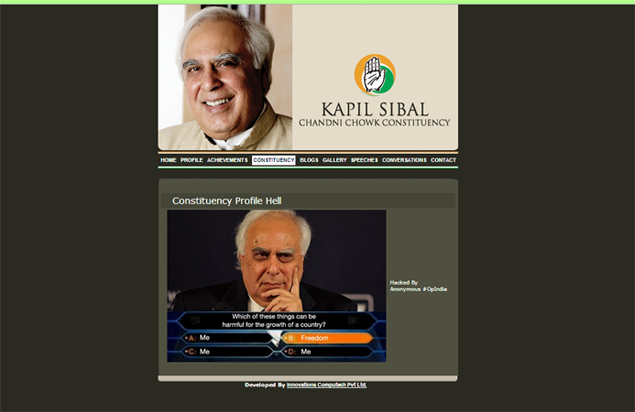 Kapil Sibal's official website hacked by Anonymous