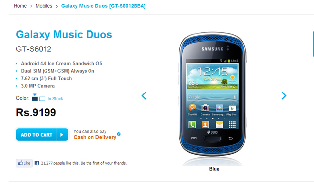 Samsung Galaxy Music Duos now available for Rs. 9,199