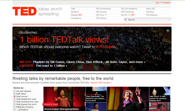 Online TEDTalks hit billion-view milestone