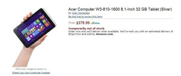 Acer W3-810, first small-screen Windows 8 tablet, accidentally leaked by Amazon.com