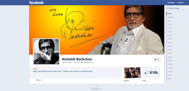 Amitabh Bachchan gets 8 lakh Likes within 30 minutes of joining Facebook