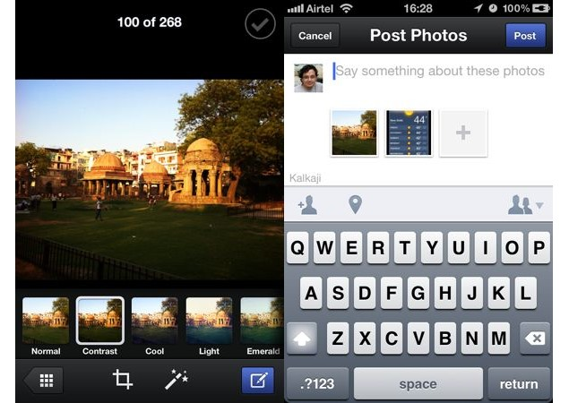 Facebook iOS app gets multi-photo uploads, image filters and new messenger interface