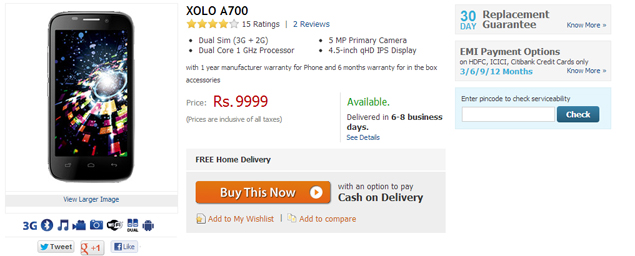 Dual-SIM Lava Xolo A700 available online for Rs.9,999