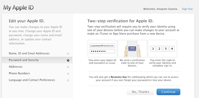 Apple rolls out two-step verification for iCloud and Apple ID