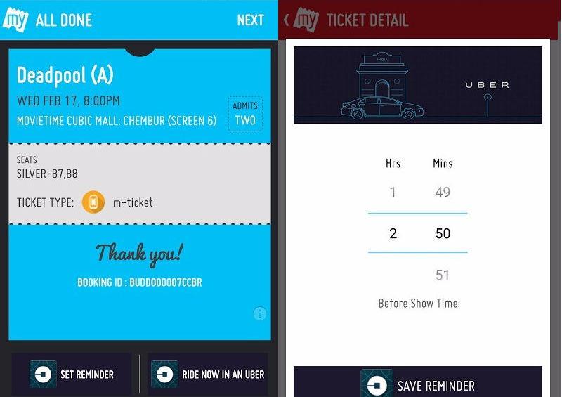 Now, Book an Uber to the Cinema via BookMyShow