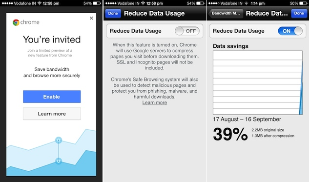 Google offering Chrome's Data Compression feature to select iOS users