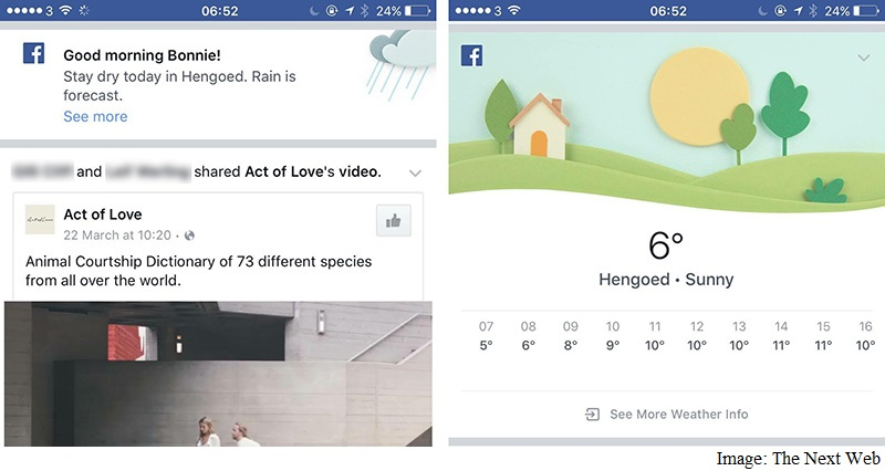 Facebook Testing Weather Updates in Android, iOS Apps