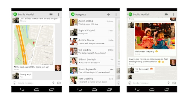 Google Hangouts Android app gets SMS integration, location sharing