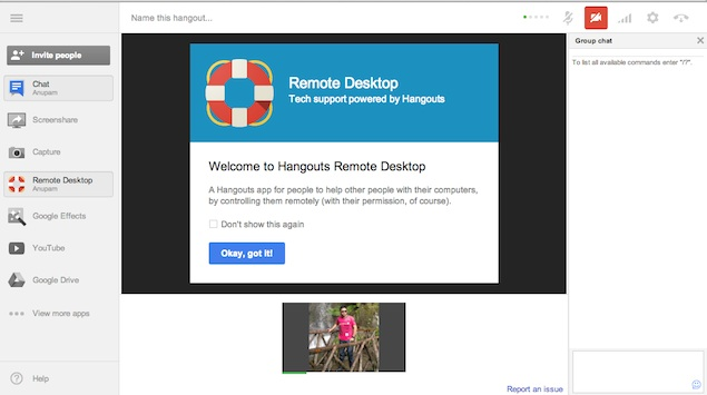 Google+ hangouts get Remote Desktop option, troubleshoot