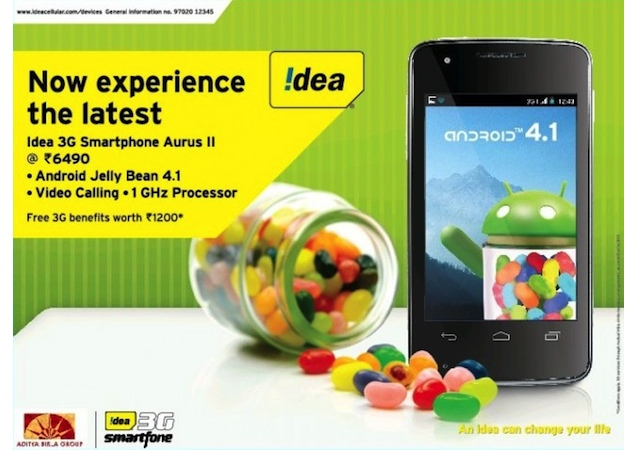 Idea Cellular launches Aurus II dual-SIM smartphone with Jelly Bean for Rs. 6,490