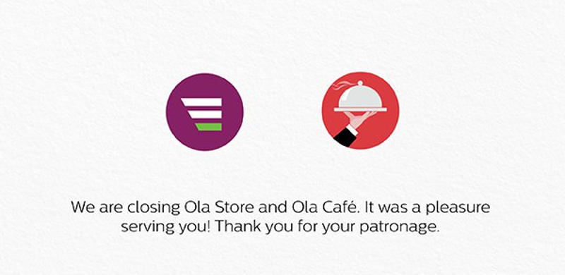 Ola Shuts Down Ola Store and Ola Cafe