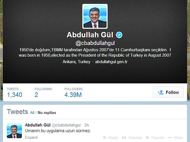 Turkish president denounces government ban on Twitter