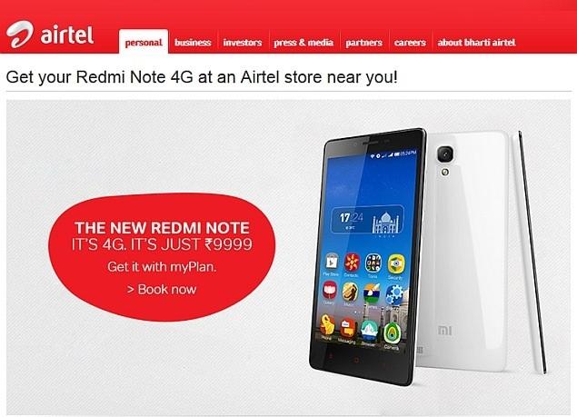 Xiaomi Redmi Note 4G Now Available via Airtel