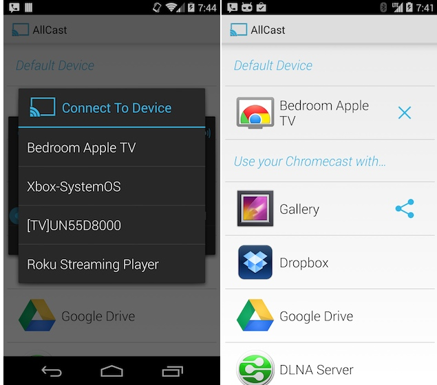 AllCast app streams content from Android devices to Apple TV, other media players