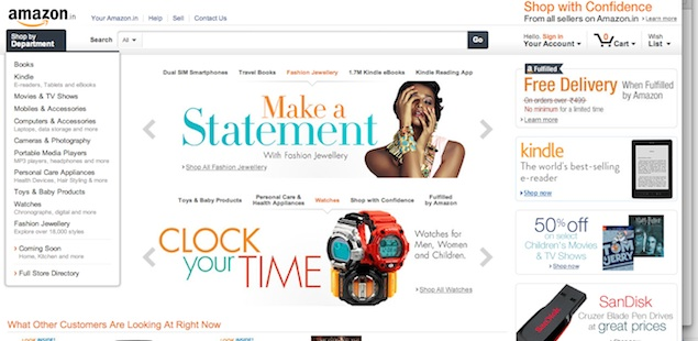 Amazon.in now selling fashion jewellery and watches
