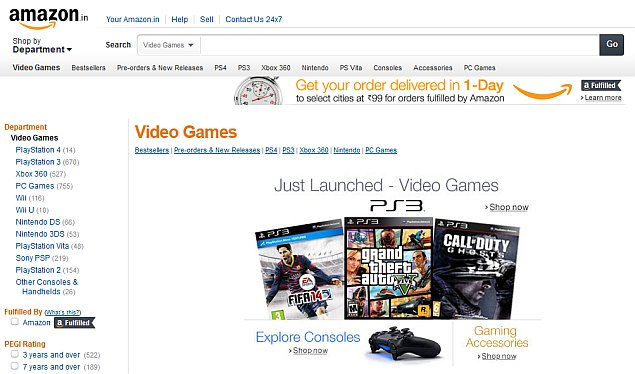 Amazon in launches three new stores for video games, music and