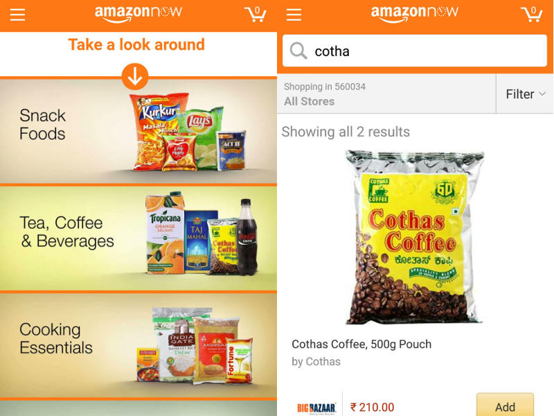 Amazon Now 2-Hour Deliveries Launched in Bengaluru With New App