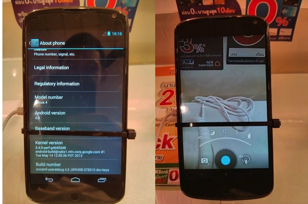 Google Nexus 4 running Android 4.3 spotted in Thailand
