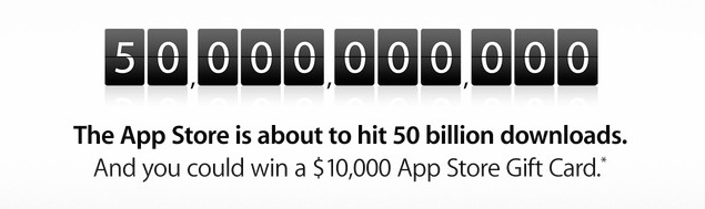 Apple counts down to 50 billion app downloads with $10,000 gift card giveaway