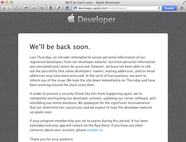 apple confirms its developer website was hacked