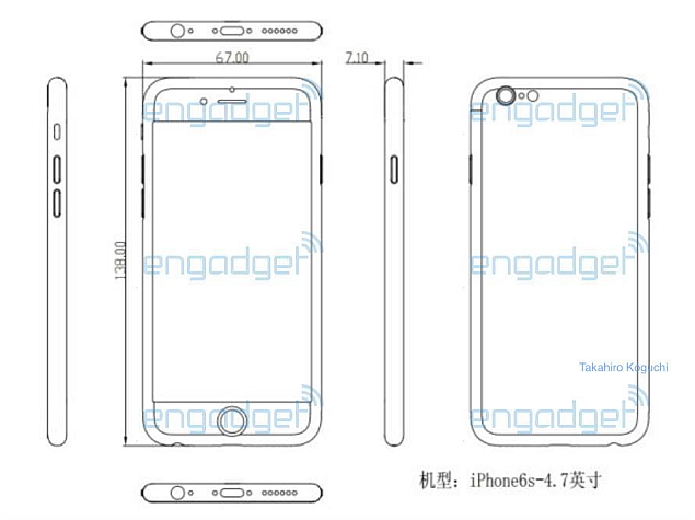 iphone 6s dimensions tipped in leaked schematic technology news. Black Bedroom Furniture Sets. Home Design Ideas