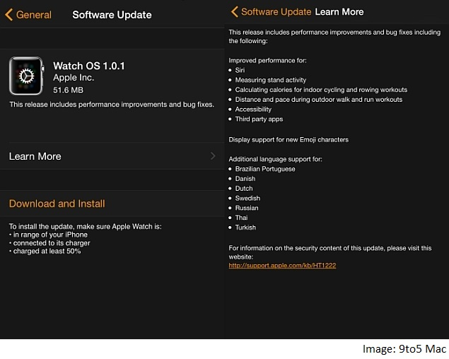 Apple Watch OS 1.0.1 Update Brings Bug Fixes, Performance Improvements