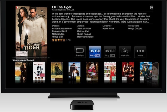 Apple TV listed on Apple India website for Rs. 8,295