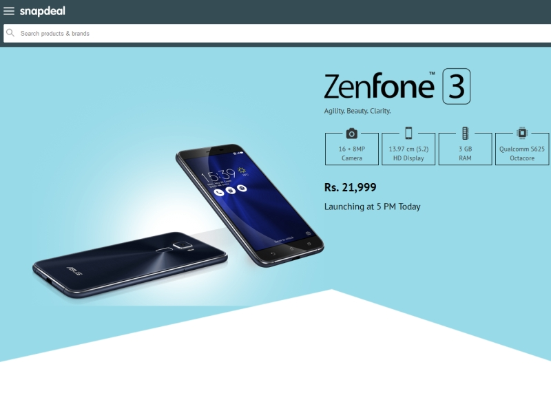 Asus ZenFone 3 Price in India Revealed by Snapdeal