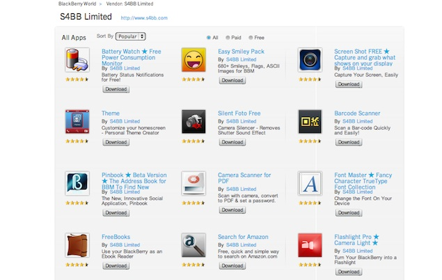 Almost one third of all apps on BlackBerry World developed by a single developer