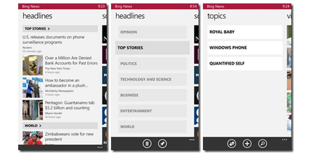 Microsoft launches Bing News, Bing Finance, Bing Weather and Bing Sports apps for Windows Phone 8