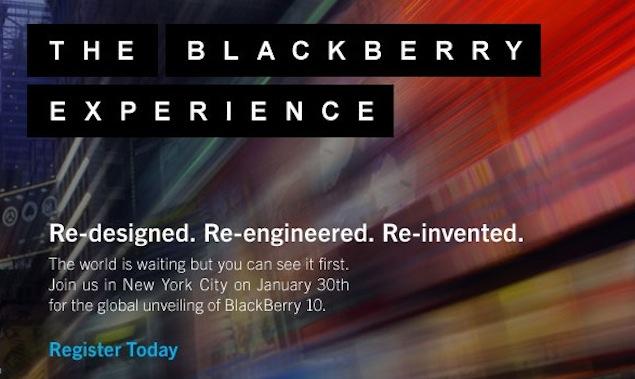 RIM sends invites to New York BlackBerry 10 media event on January 30