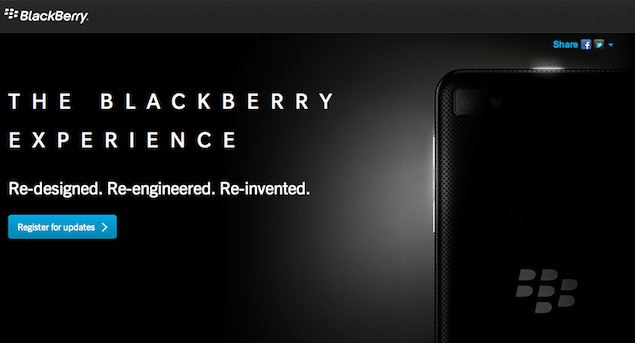RIM teases BlackBerry 10 with dedicated page on website