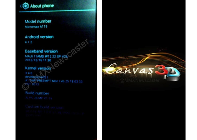 Micromax A115 Canvas 3D purported pics appear online