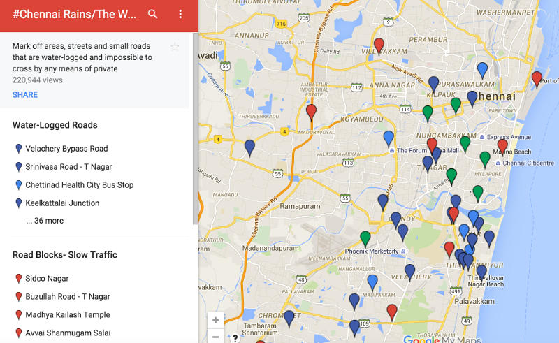 Chennai Floods Facebook Activates Safety Check Google Sets Up - Flood check map