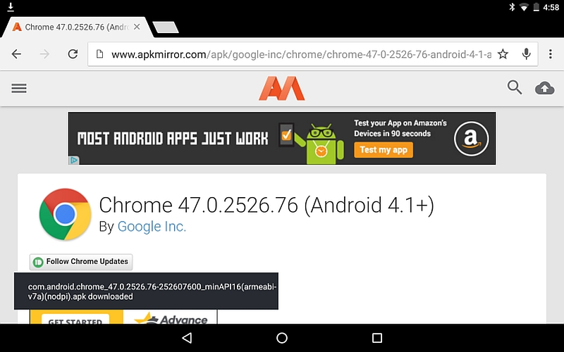 Google Chrome 47 for Android Brings Download 'Snackbar' and