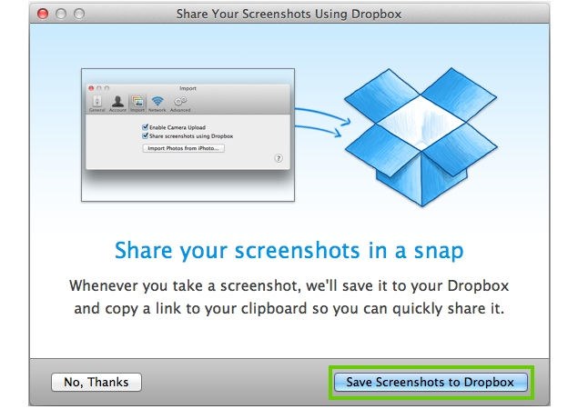 Dropbox updates desktop apps to save screenshots automatically, import iPhoto pictures