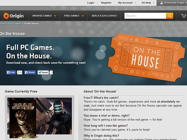 EA offering free AAA game titles via 'On the House' Origin