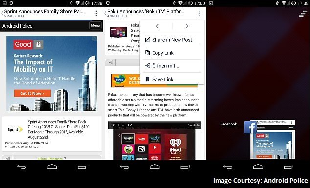 Facebook Testing Built-In Browser on Android App: Report