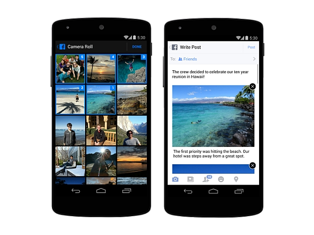 Facebook for Android and iOS Brings New Multiple Photo Sharing Options