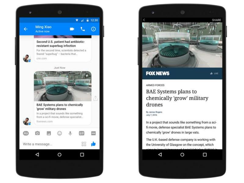 Facebook Messenger Gets Instant Articles Support