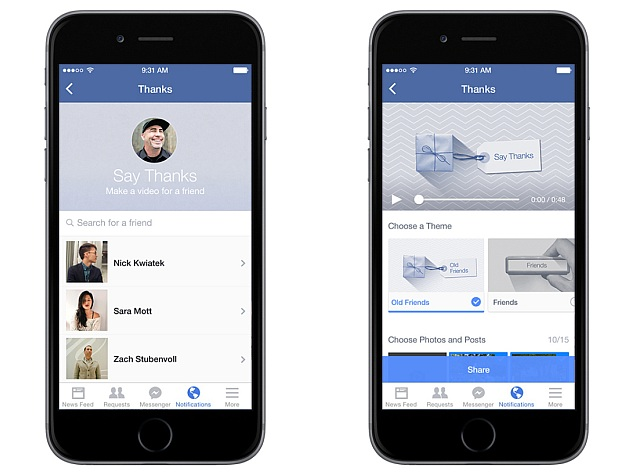 Facebook 'Say Thanks' Tool Lets Users Make Personalised Video Cards