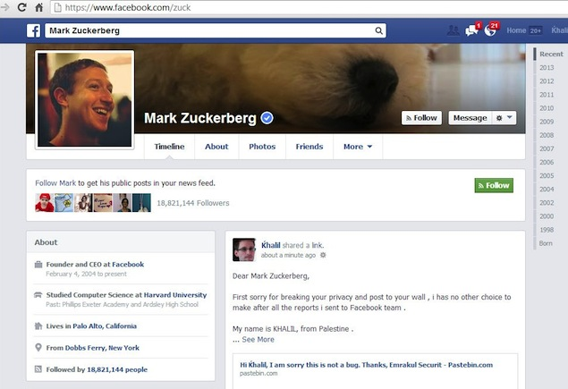 Mark Zuckerberg's Facebook Wall 'hacked' by irate security researcher