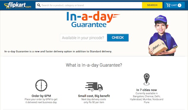 Flipkart follows Amazon, introduces guaranteed one-day shipping in select cities