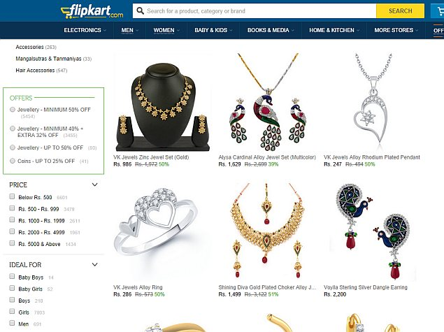 Flipkart Ties up with PC Jeweller to Sell Jewellery Online