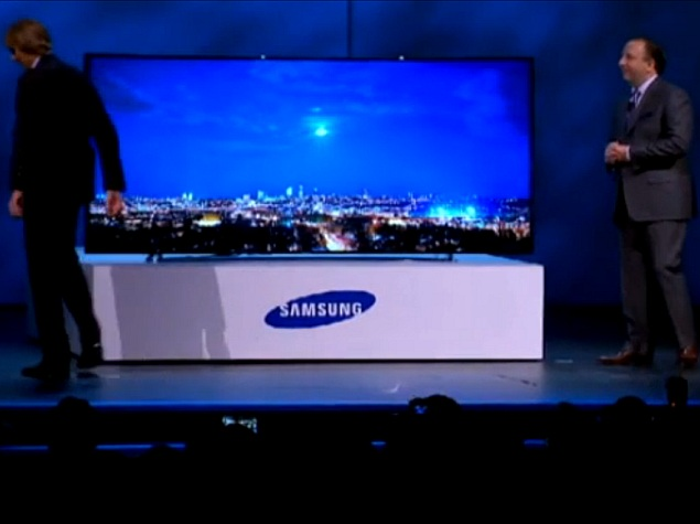 Michael Bay walks off stage during Samsung Curved UHD TV event at CES 2014