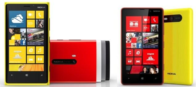 Nokia Lumia 920, Lumia 820 specifications compared